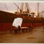 """""""Marie Reith"""" Anfang 1972 im Hafen von Volos(Greece) beim Löschbetrieb. Reederei: Orion Schiffahrtsges., Hamburg."""
